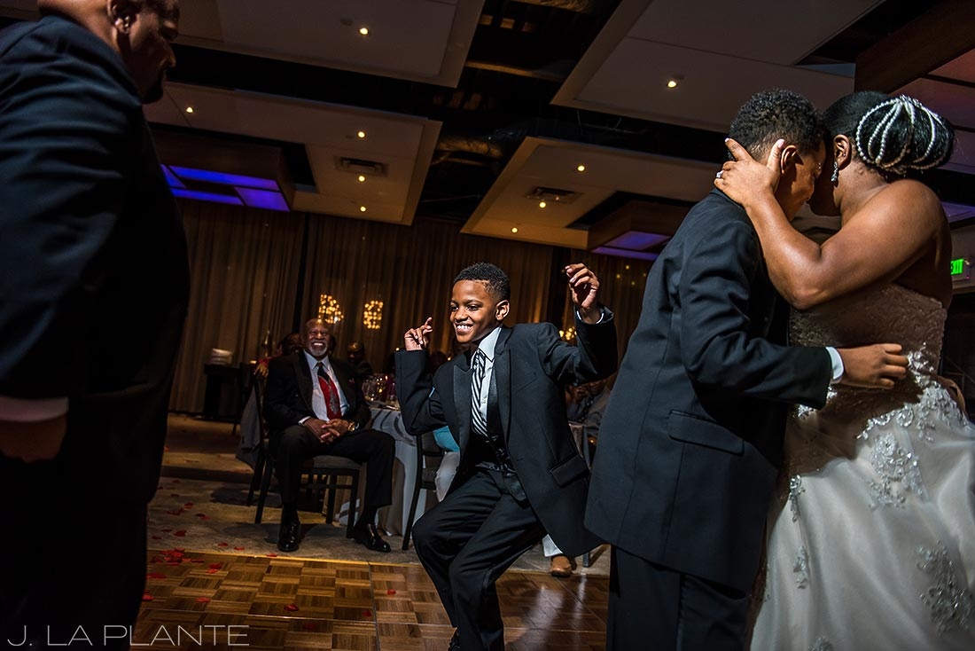 JW Marriott Cherry Creek Wedding | Bride dancing with son | Denver wedding photographer | J La Plante Photo