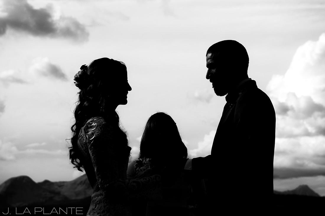 Purgatory Resort wedding | Bride and groom during ceremony | Durango wedding photographer | J La Plante Photo