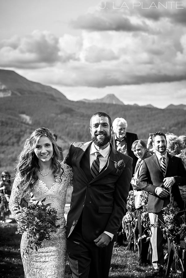 Purgatory Resort wedding | Bride and groom after ceremony | Durango wedding photographer | J La Plante Photo