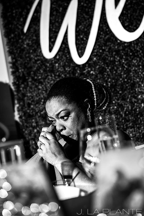 bride crying during wedding toasts