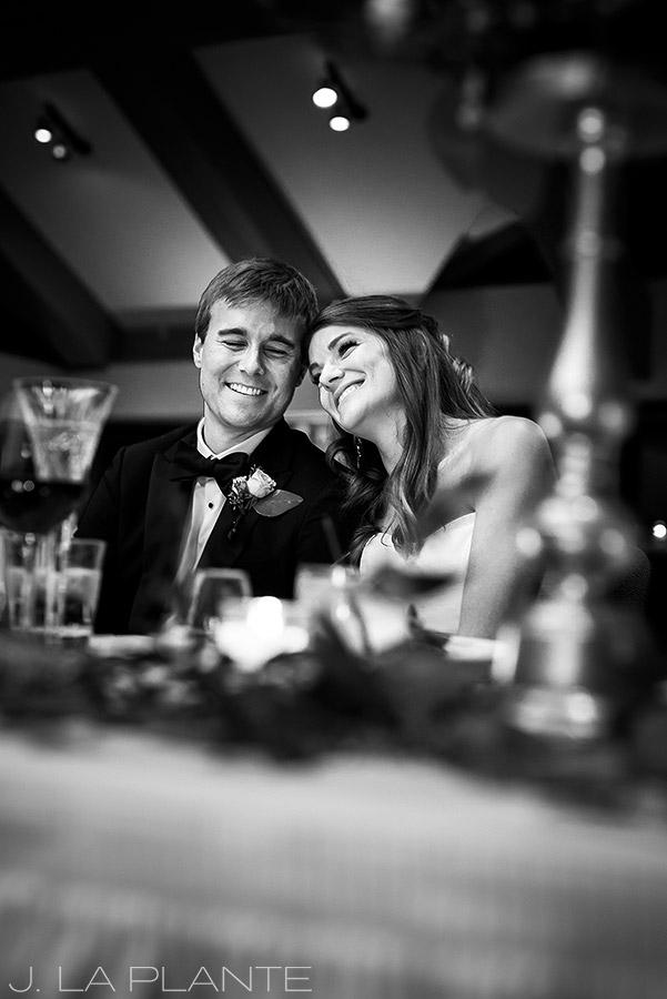 Park Hyatt Wedding | Bride and groom reacting to toasts | Beaver Creek wedding photographer | J La Plante Photo
