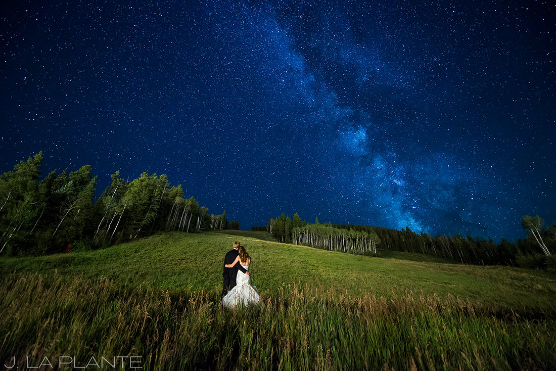 Beaver Creek Wedding | Bride and groom looking at Milky Way | Beaver Creek wedding photographer | J La Plante Photo