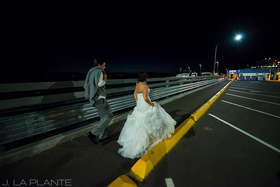 Vashon Island Wedding | Bride and groom walking to ferry | Destination wedding photographer | J La Plante Photo