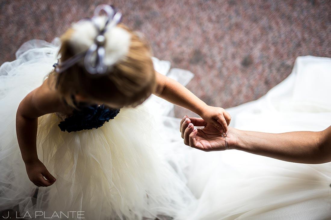 Fall Copper Mountain Wedding | Bride with flower girl | Colorado Destination Wedding Photographer | J La Plante Photo