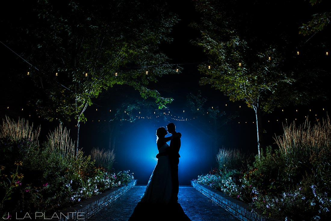 Crooked Willow Farms Wedding | Nighttime portrait of bride and groom | Colorado Wedding Photographer | J La Plante Photo