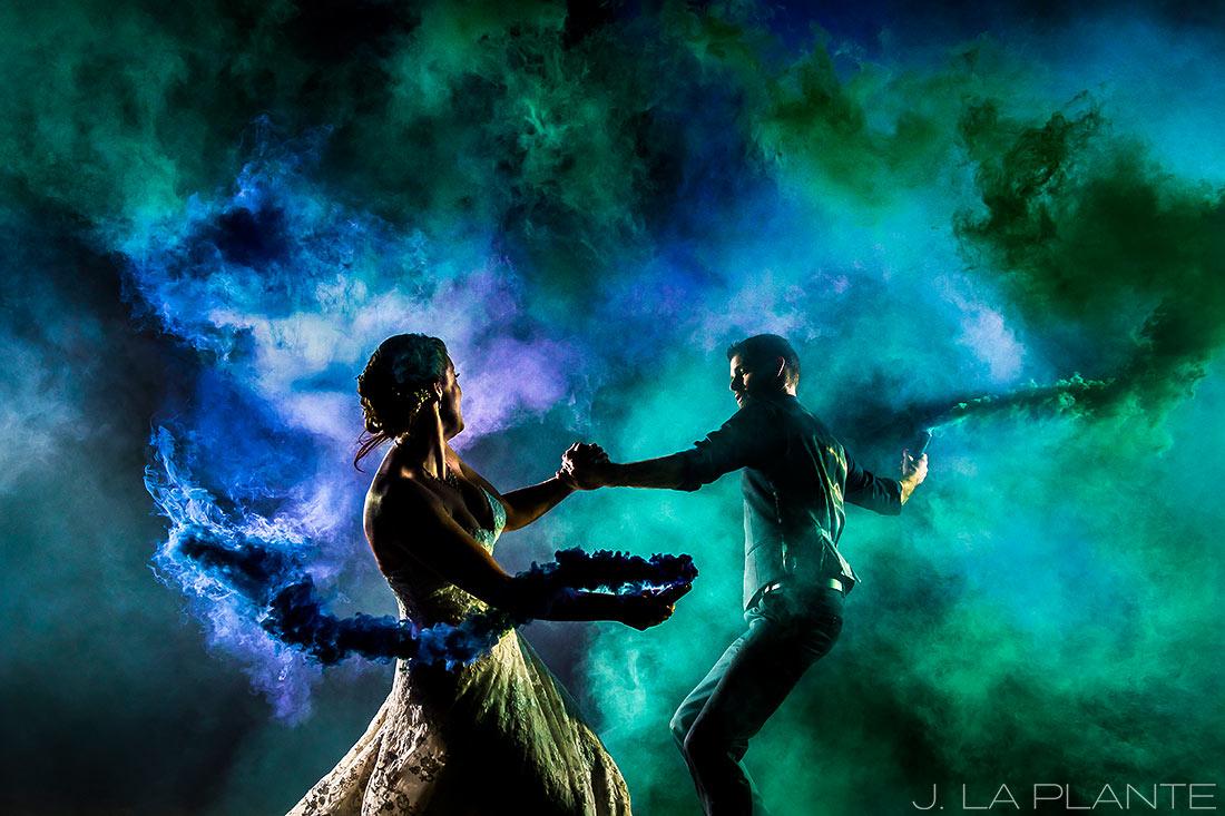 Crooked Willow Farms Wedding   Nighttime portrait with smoke   Colorado Wedding Photographer   J La Plante Photo