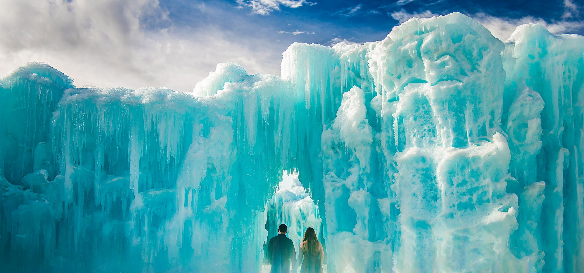 Bride and Groom in Ice Castle | Keystone Ice Castle Engagement | Colorado Wedding Photographer | J. La Plante Photo
