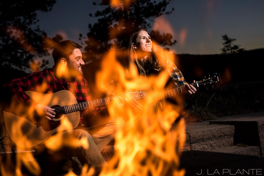 Colorado Mountain Engagement | Bride and groom playing guitar | Colorado engagement photography | J La Plante Photo