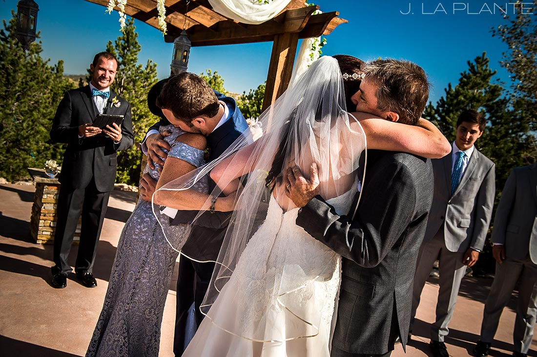 Willow Ridge Manor Wedding | Bride hugging father | Denver wedding photographer | J La Plante Photo