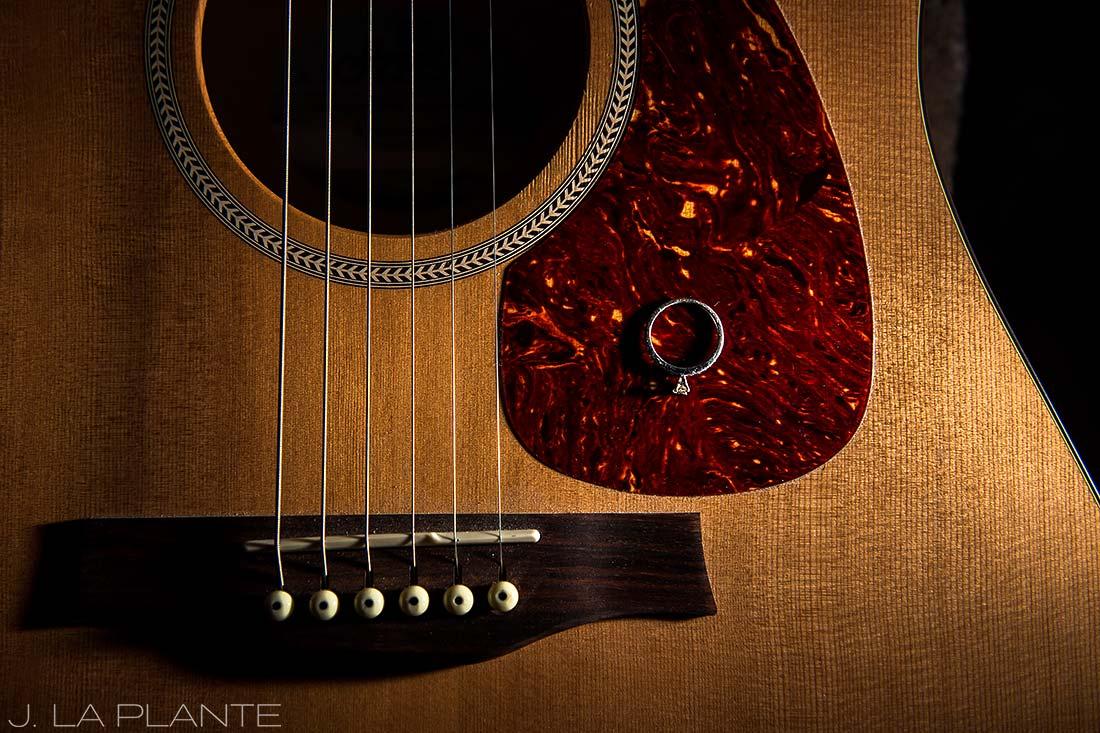 Colorado Mountain Engagement | Engagement ring on guitar | Colorado engagement photography | J La Plante Photo