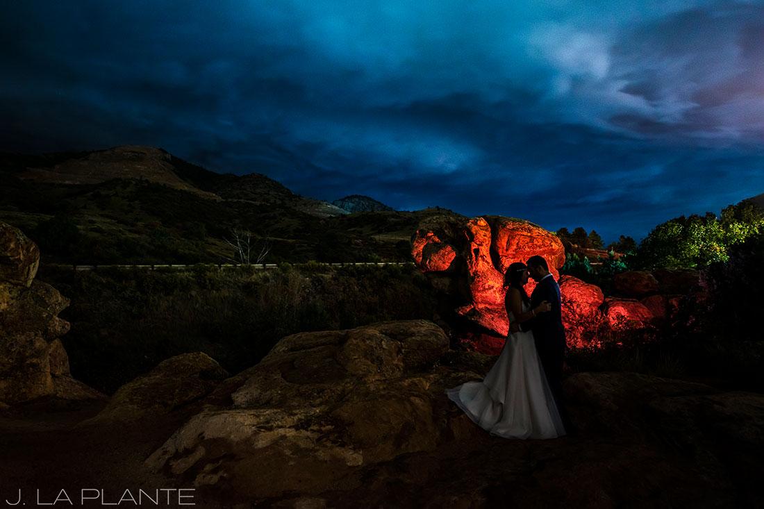 Willow Ridge Manor Wedding | Nighttime portrait of bride and groom | Denver wedding photographer | J La Plante Photo