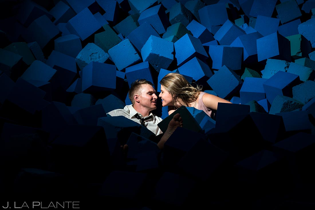 Bride and groom in foam pit | Aerial engagement session | Woodward Training Facility | Copper Mountain engagement photographer | J L a Plante Photo