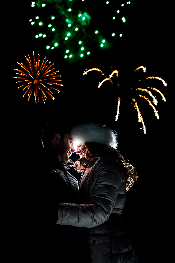 Bride and Groom Watching Fireworks | Beaver Creek Engagement | Beaver Creek Wedding Photographer | J. La Plante Photo