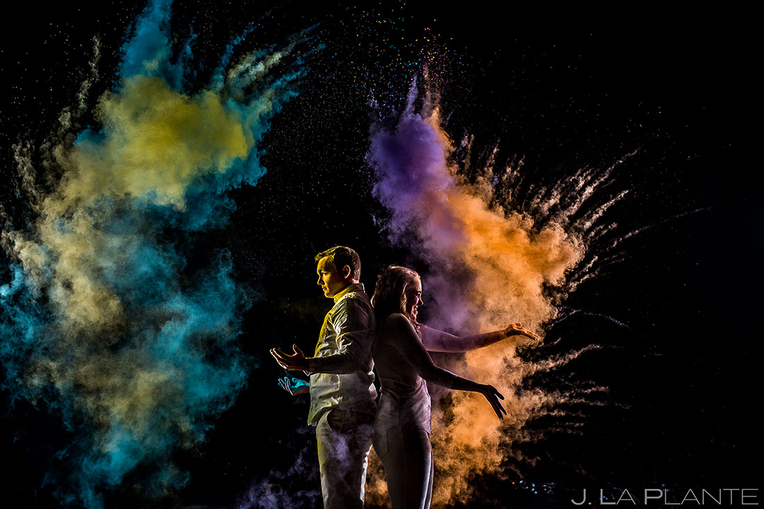 J. La Plante Photo | Boulder Wedding Photographer | Boulder Engagement | Bride and Groom Playing with Holi Powder