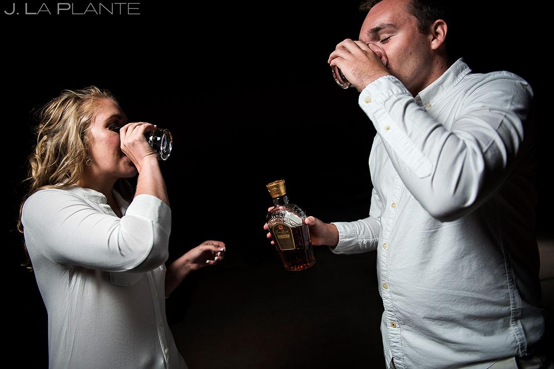J. La Plante Photo | Boulder Wedding Photographer | Boulder Engagement | Bride and Groom Drinking Whiskey