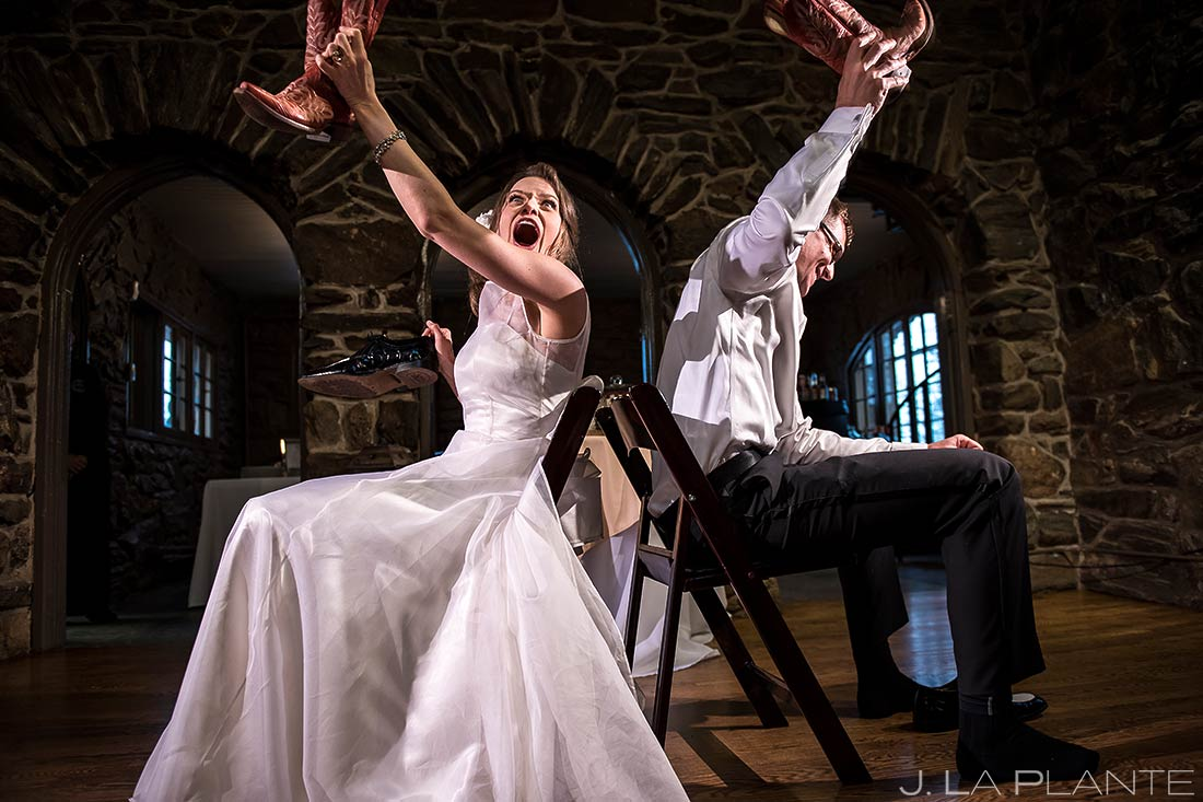 Bride and Groom Playing the Shoe Game | Chief Hosa Lodge Wedding | Denver Wedding Photographers | J. La Plante Photo