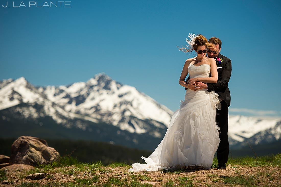 Bride on Groom on Vail Mountain | Sonnenalp Hotel Wedding | Vail Wedding Photographers | J. La Plante Photo