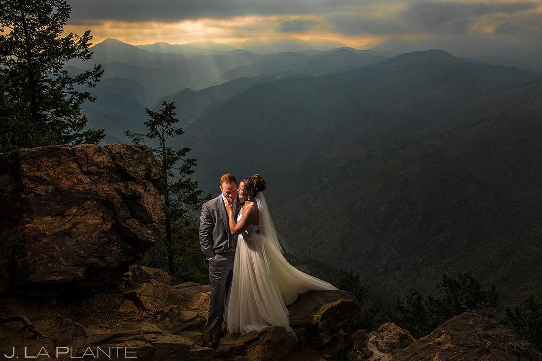 Bride and Groom on Lookout Mountain | Boettcher Mansion Wedding | Denver Wedding Photographers | J. La Plante Photo