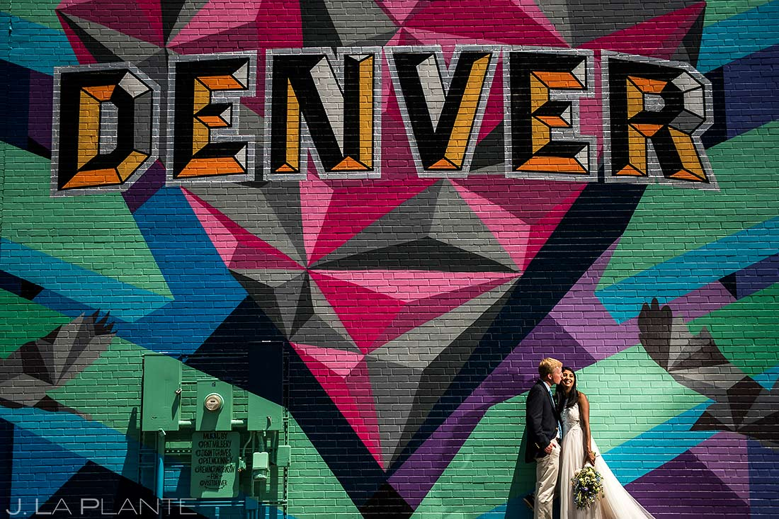Bride and Groom Mural | River North Art District Wedding | Denver Wedding Photographers | J. La Plante Photo