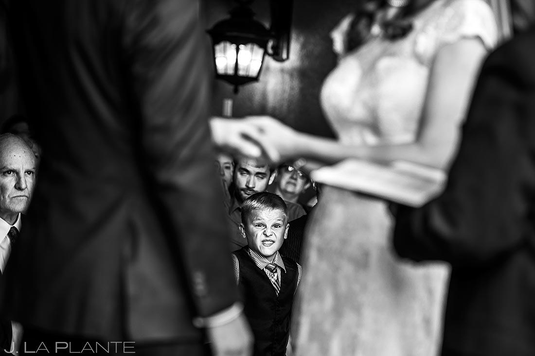 Ring Bearer Watching Ceremony | Edgewood Inn Wedding | Colorado Springs Wedding Photographers | J. La Plante Photo