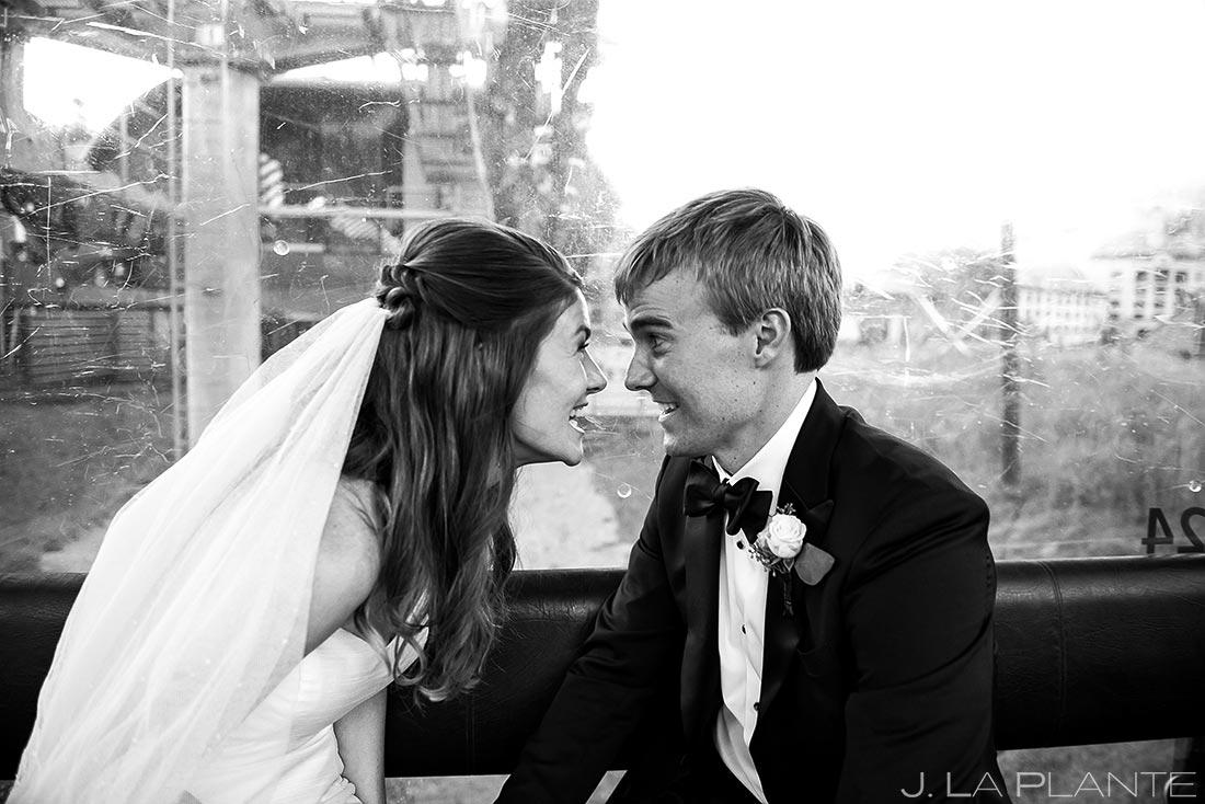Bride and Groom on Gondola | Park Hyatt Beaver Creek Wedding | Colorado Wedding Photographers | J. La Plante Photo