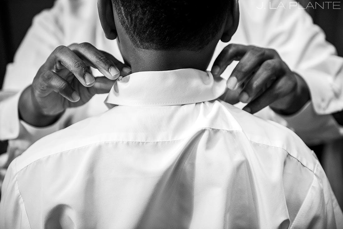 Groom Tying Son's Tie | JW Marriott Cherry Creek Wedding | Denver Wedding Photographers | J. La Plante Photo