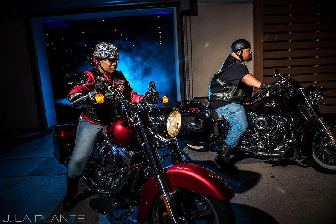 Bride and Groom Leaving Wedding on Motorcycles | JW Marriott Cherry Creek Wedding | Denver Wedding Photographers | J. La Plante Photo