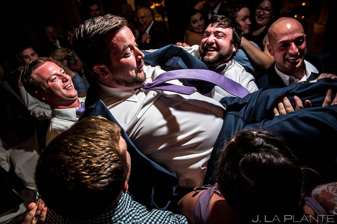 Groom Hoisted up at Reception | Sonnenalp Hotel Wedding | Vail Wedding Photographer | J. La Plante Photo