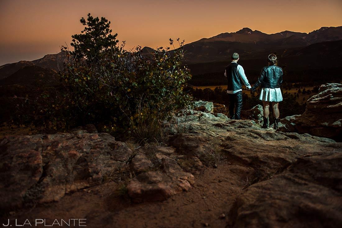 Newlyweds Watching Sunset | Rocky Mountain National Park Elopement | Estes Park Wedding Photographer | J. La Plante Photo