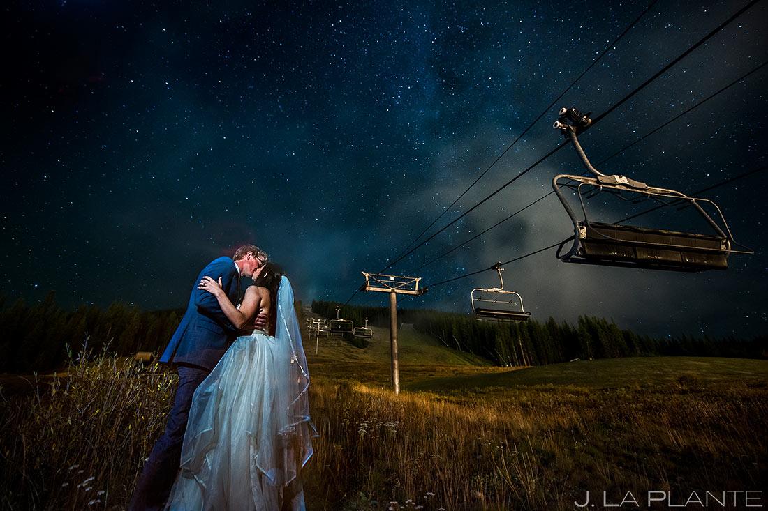 Newlyweds Kissing Under Stars | Copper Mountain Wedding | Colorado Wedding Photographer | J. La Plante Photo