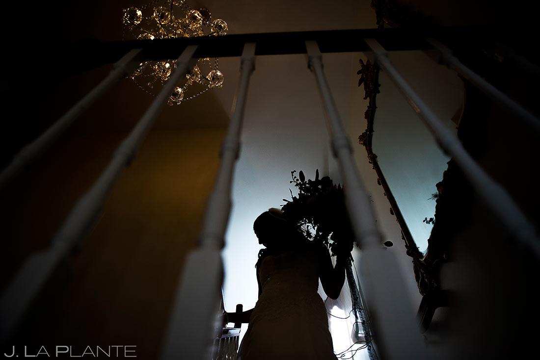 Silhouette Photo of Bride | Willow Ridge Manor Wedding | Denver Wedding Photographer | J. La Plante Photo