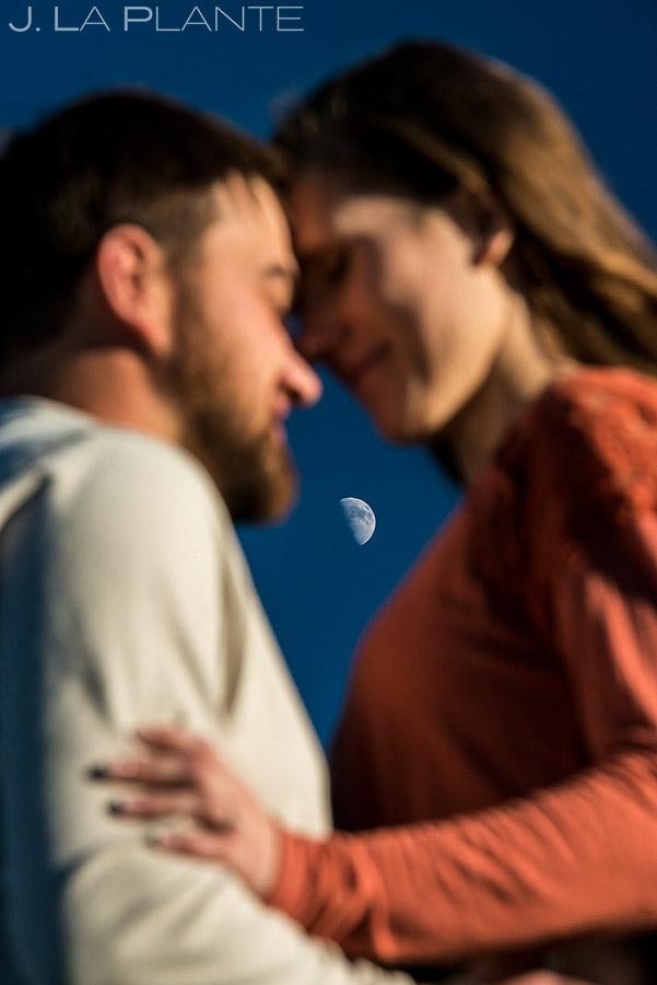 Bride and Groom Under Moon | Rustic Mountain Engagement | Estes Park Wedding Photographer | J. La Plante Photo