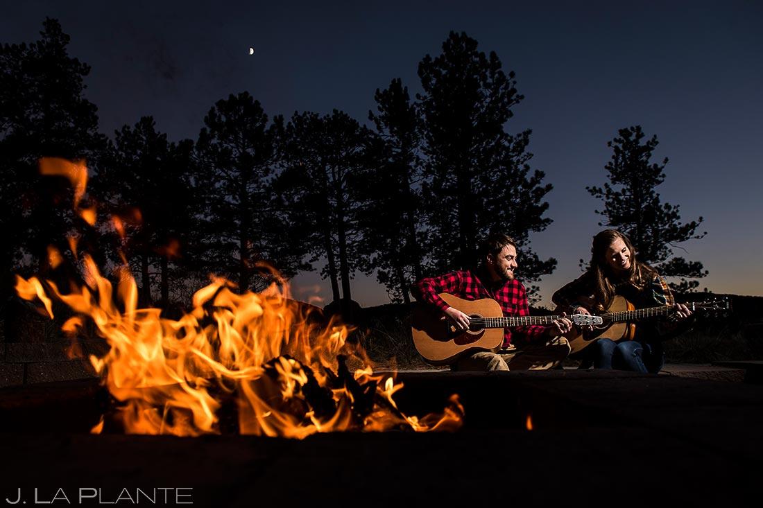 Bride and Groom Playing Guitars | Rustic Mountain Engagement | Estes Park Wedding Photographer | J. La Plante Photo