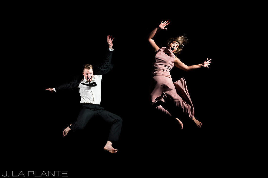 Bride and Groom Jumping on Trampoline | Copper Mountain Engagement | Colorado Wedding Photographer | J. La Plante Photo