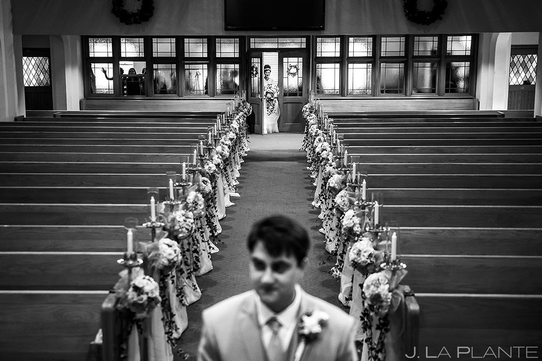 Bride and Groom First Look | Corona Church Denver Wedding | Denver Wedding Photographers | J. La Plante Photo