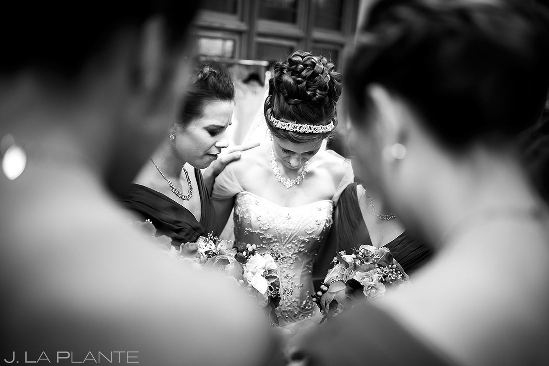 Bridesmaids Praying Before Ceremony | Corona Church Denver Wedding | Denver Wedding Photographers | J. La Plante Photo