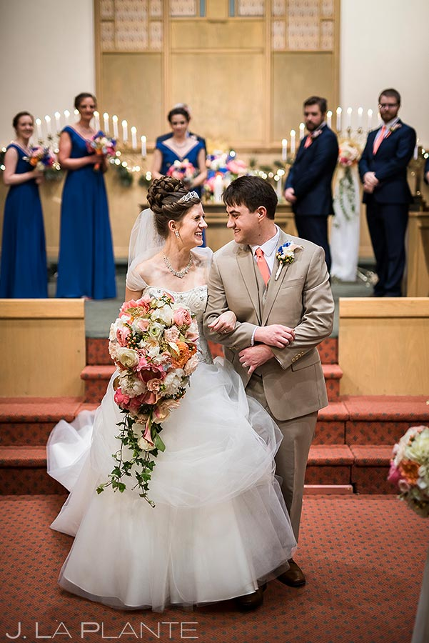 Bride and Groom Leaving Ceremony | Corona Church Denver Wedding | Denver Wedding Photographers | J. La Plante Photo