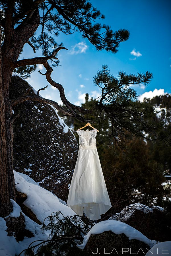 Wedding dress | Black Canyon Inn Winter Wedding | Rocky Mountain Wedding Photographer | J La Plante Photo