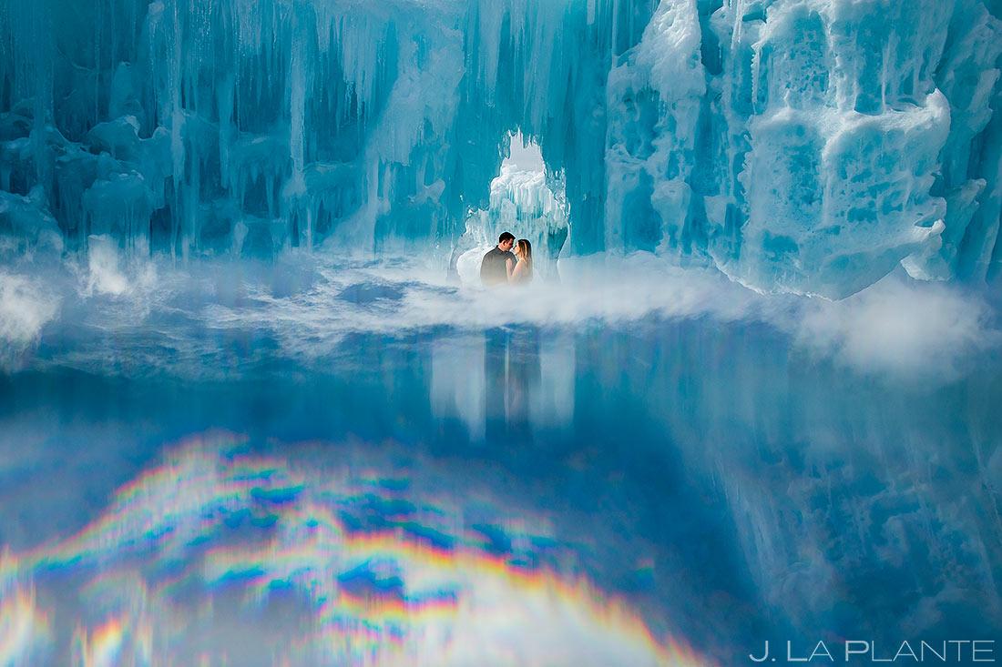 Bride and Groom in Ice Castle | Keystone Ice Castle Engagement | Colorado Wedding Photographer | J. La Plante Photo