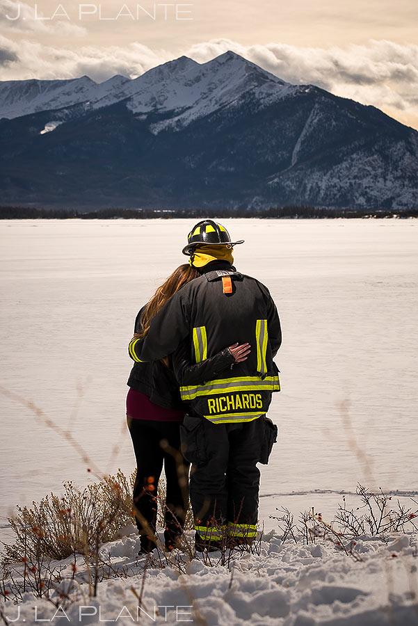 Bride and Groom Portrait | Fireman Themed Engagement | Dillon Reservoir Engagement | Colorado Wedding Photographer | J. La Plante Photo