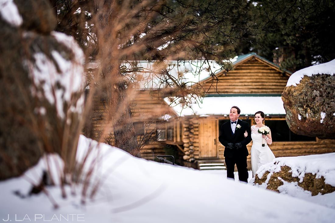 Bride walking down aisle | Black Canyon Inn Winter Wedding | Rocky Mountain Wedding Photographer | J La Plante Photo