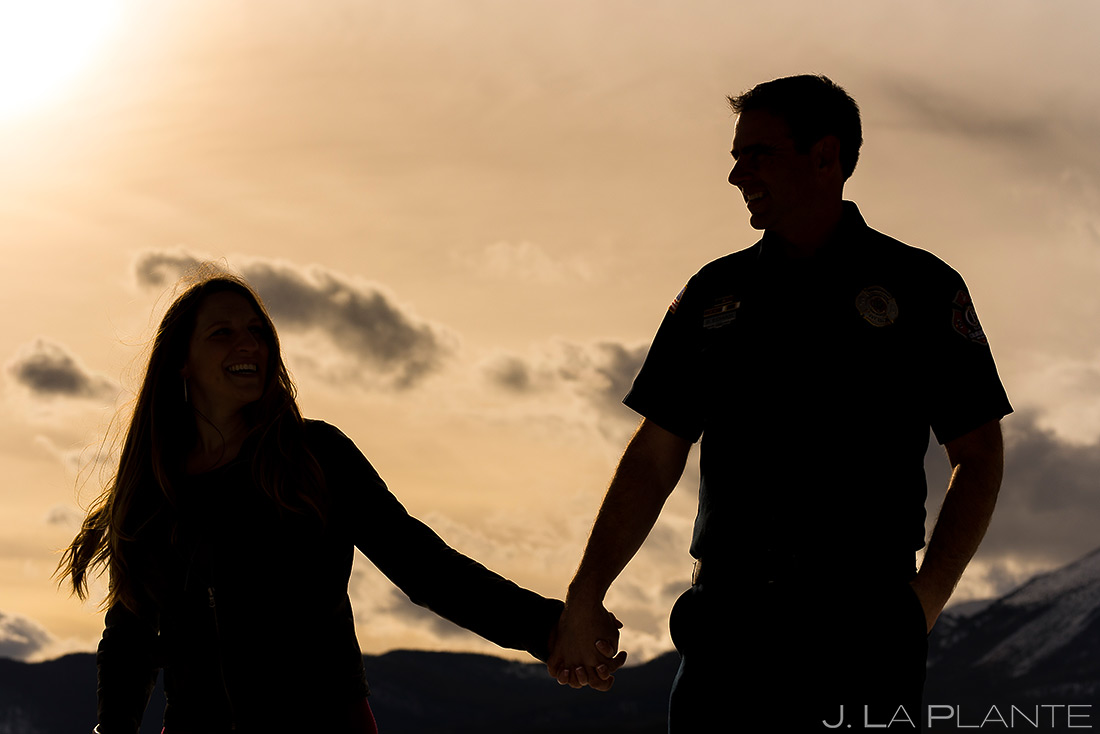 Bride and Groom Silhouette | Fireman Themed Engagement | Dillon Reservoir Engagement | Colorado Wedding Photographer | J. La Plante Photo