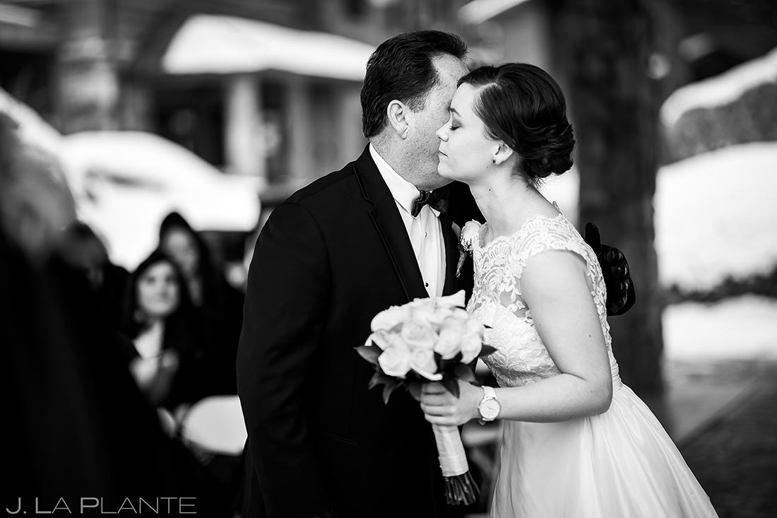 Father giving bride away | Black Canyon Inn Winter Wedding | Rocky Mountain Wedding Photographer | J La Plante Photo
