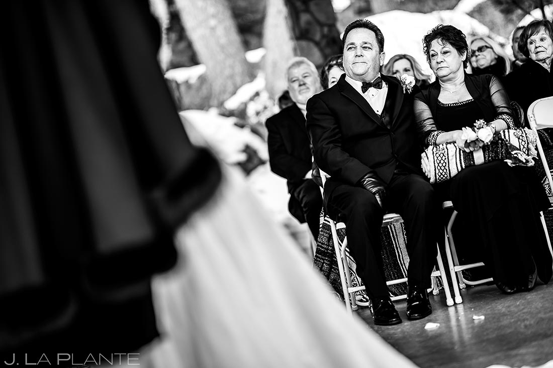 Father of the bride watching ceremony | Estes Park Winter Wedding | Rocky Mountain Wedding Photographer | J La Plante Photo