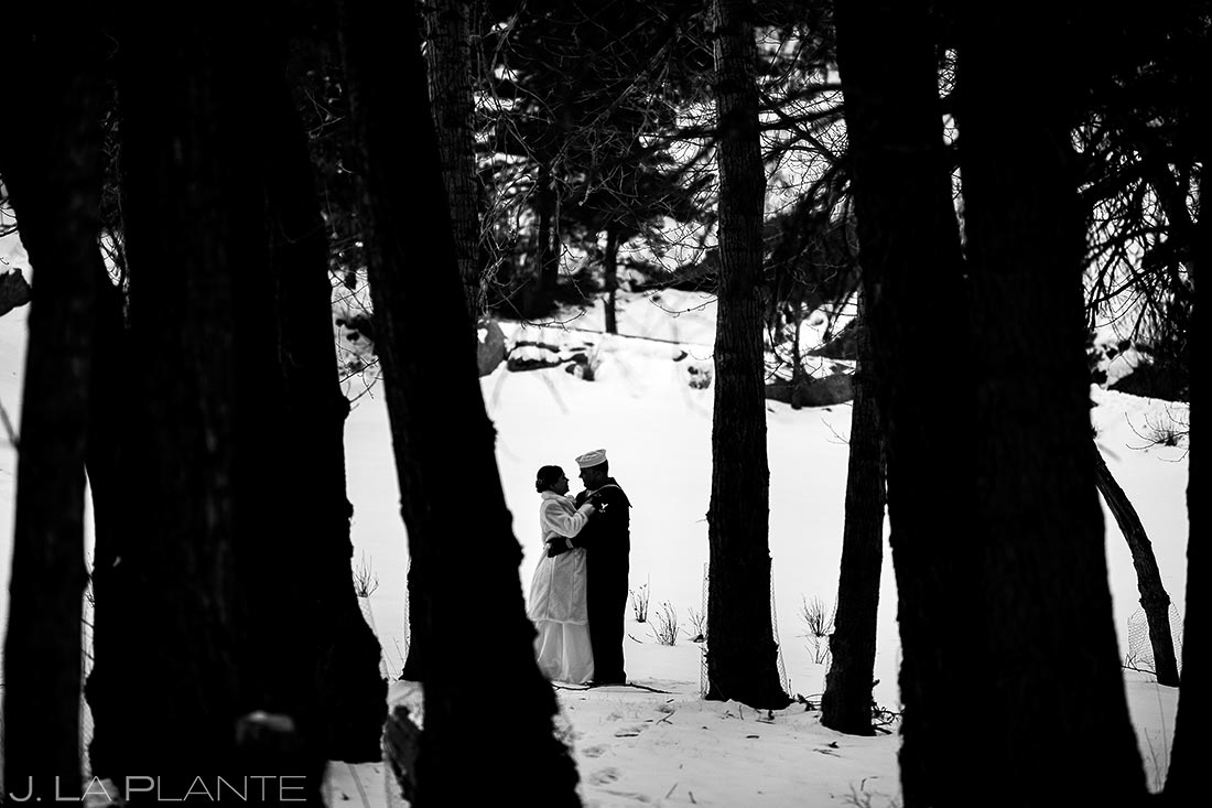 Bride and groom in snow | Estes Park Winter Wedding | Rocky Mountain Wedding Photographer | J La Plante Photo