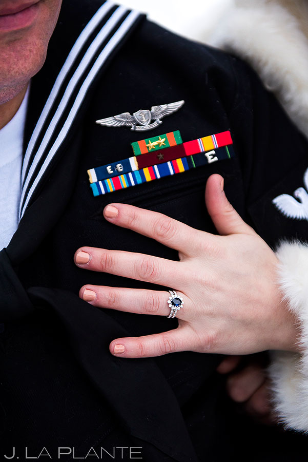 Ring on naval uniform | Estes Park Winter Wedding | Rocky Mountain Wedding Photographer | J La Plante Photo