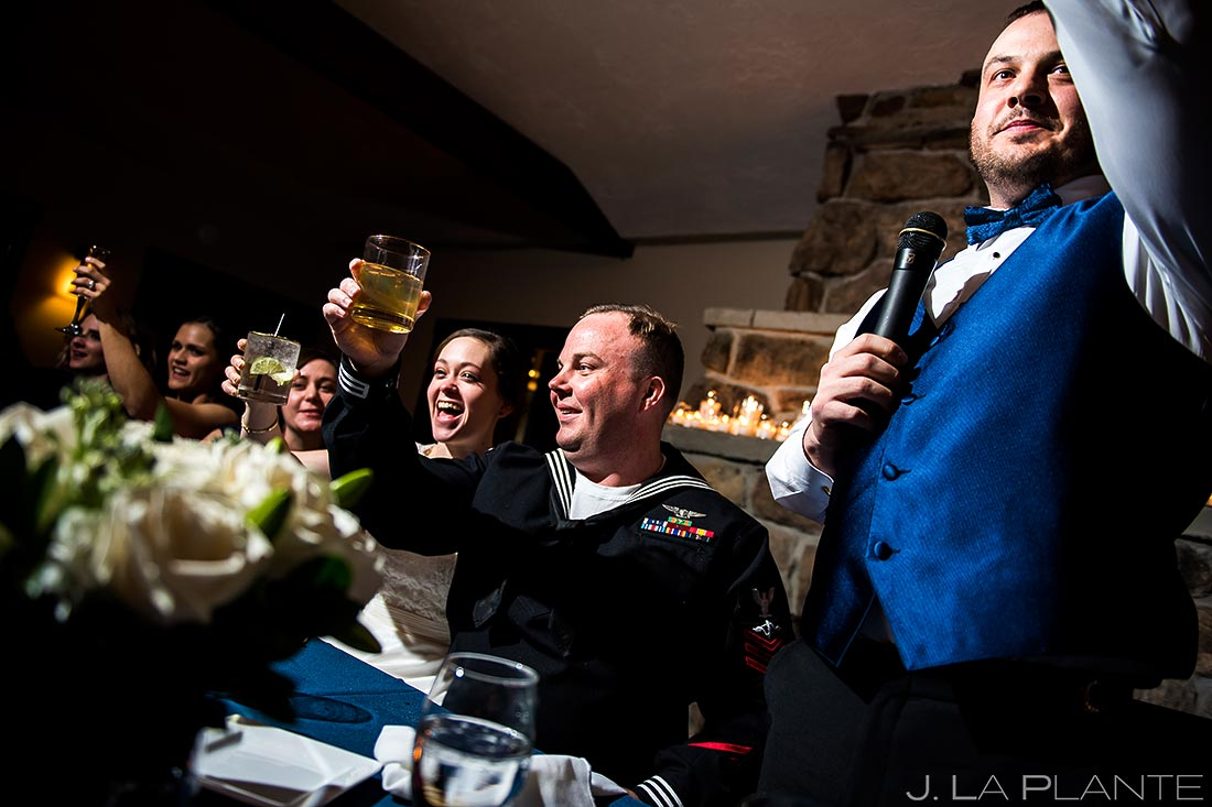Toast | Mary's Lake Lodge Wedding | Estes Park Winter Wedding Photographer | J La Plante Photo