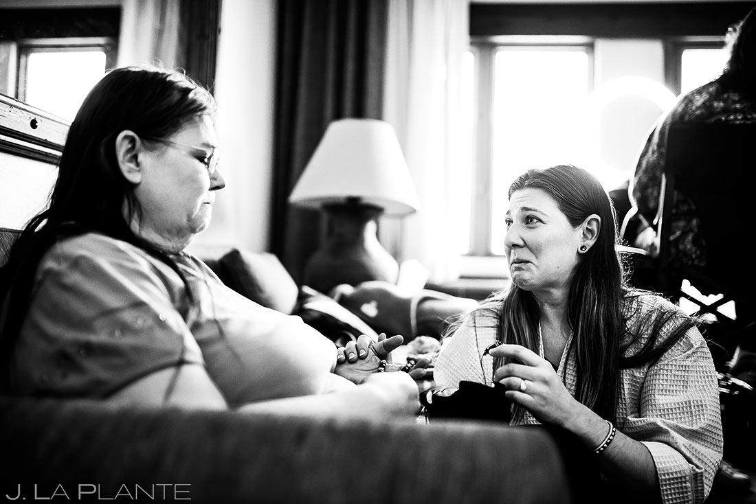 Bride having moment with mother | Evergreen Lake House Wedding | Evergreen Wedding Photographer | J. La Plante Photo