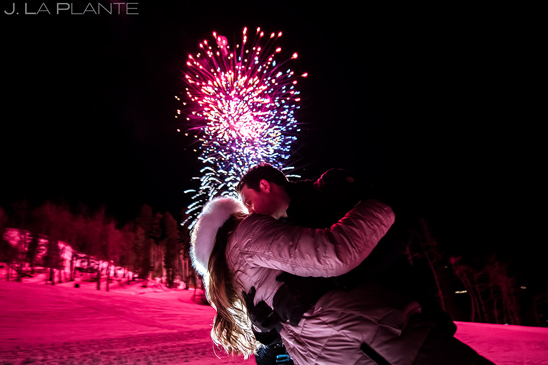 bride and groom watching fireworks