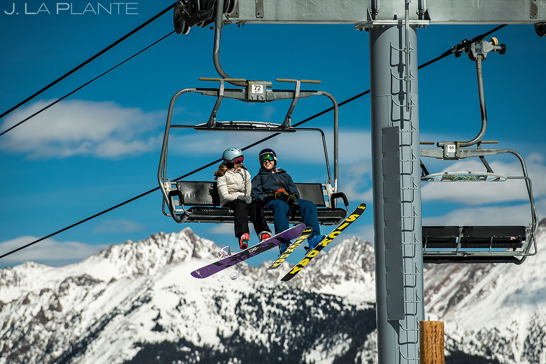 Vail Ski Engagement | Couple riding chairlift | Vail wedding photographer | J. La Plante Photo